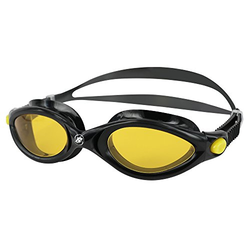 Barracuda Swim Goggles - Curved Lenses Streamline Design, Anti-Fog UV Protection, One-Piece Frame Soft Seals, Easy Adjusting Comfortable Leak Proof for Adults Men Women #32420 (Yellow)