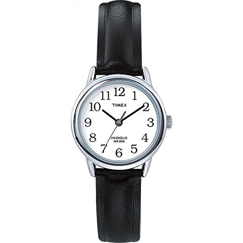 (Timex Women's T20441 Easy Reader Silver-Tone Black Leather Watch)