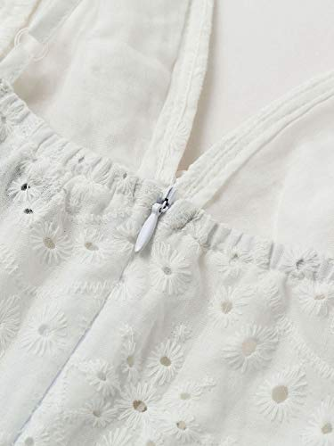 BerryGo Women's Embroidery Pearl Button Down Dress V Neck Spaghetti Strap Maxi Dress 4