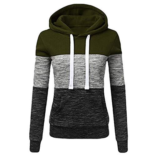 (Sunhusing Women's Casual Hooded Turtleneck Sweatshirt Ladies Colorblock Patchwork Hoodie Pullover Army Green)