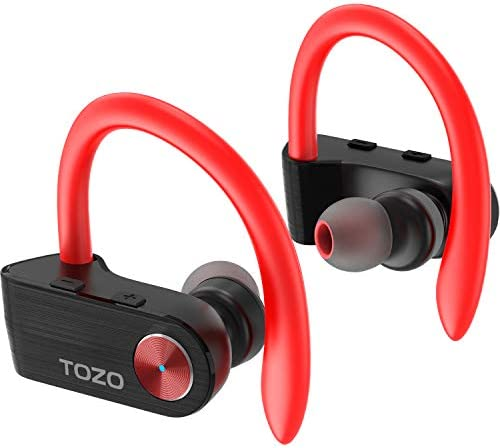 TOZO T5 TWS Bluetooth Headphones, True Wireless Stereo Sport Earphones with Mic, HD Sound with Bass Earbuds, Noise Cancelling Headsets for Gym Running Workout-Super Easy Pair