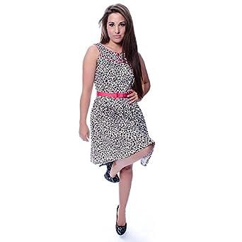 d1e40b1f3d98 VOODOO VIXEN Leopard/Pink Rose Dress (Multi-Coloured): Amazon.co.uk:  Clothing