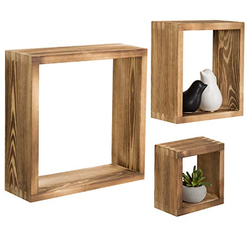 MyGift Burnt Wood Wall-Mounted Shadow Box, Square Floating Display Shelves, Set of 3 (Shelf Box Wood)