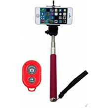 MDN® Extendable Camera Selfie Self Portrait Shooting Pole Adjustable Handheld Monopod Mount Holder for iPhone 5s 5c 5 4s 4 HTC One LG Sony Samsung Galaxy S5 S4 S3 Nexus Mobile Cell Phone with Bluetooth Remote Camera Wireless Shutter - Pink