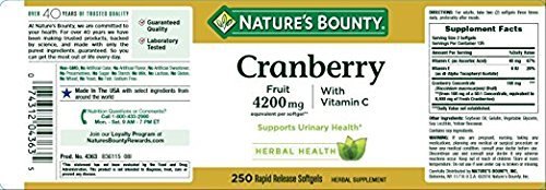 Nature's Bounty Cranberry Fruit 4200mg/ Plus Vitamin C (250)