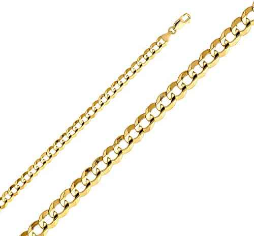 14k Yellow OR White Gold Solid Men's 7mm Cuban Concave Curb Chain Necklace with Lobster Claw Clasp