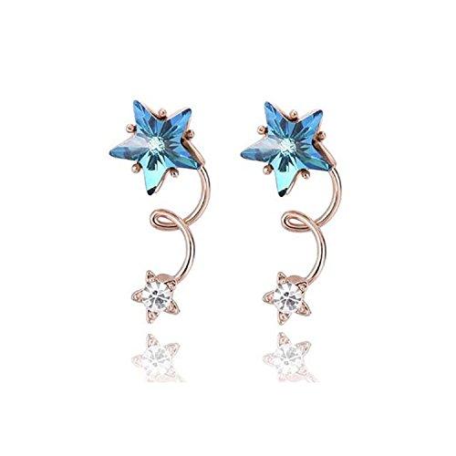 Swarovski Star Earrings (Blue Stars Drop Dangle Earrings Rose Gold Crystal Wrap Earrings for Girls With Swarovski Crystal)