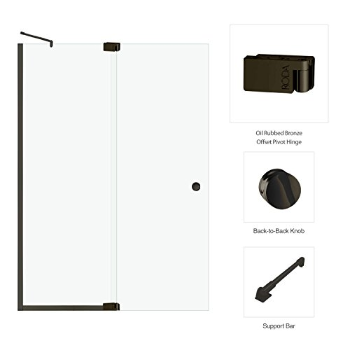 (Fab Glass and Mirror Cantour Frameless Swing Door with Inline Panel Clear Glass (60