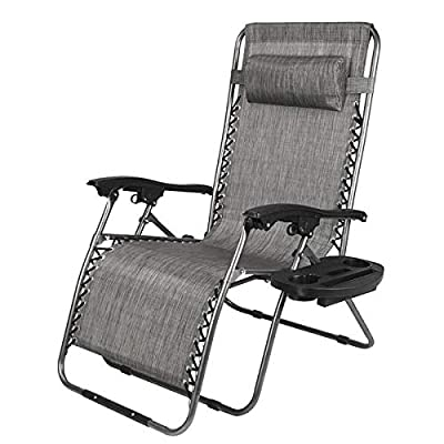 CooFel Zero Gravity Chair with Cup and Cellphone Holder Tray Widened Folding Lounge Recliners Metal Chair Large Weight Capacity 350lbs: Kitchen & Dining