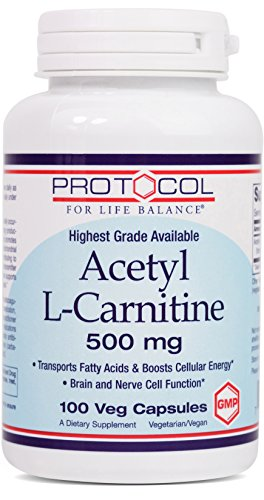 Protocol For Life Balance - Acetyl-L-Carnitine 500 mg - Helps Transport Fatty Acids to Reduce Unwanted Fat, Boosts Energy, Provides Cognitive Support, Enhances Performance & Recovery - 100 Vcaps by Protocol For Life Balance