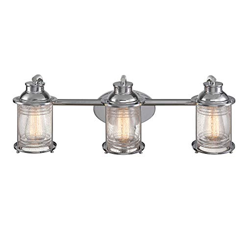 Globe Electric 51272 Bayfield 3-Light Vanity Light, Chrome, Ribbed Seeded Glass Shades (Chrome Bathroom Lighting)