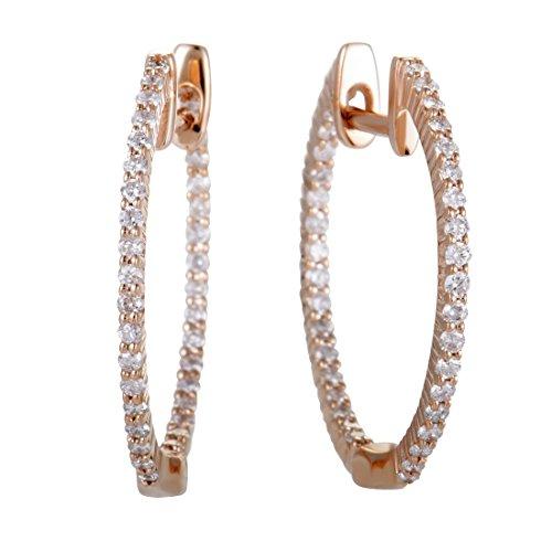 - .55ct 14K Rose Gold Full Diamond Pave Inside Out Hoop Earrings