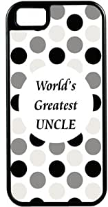 Rikki KnightTM World's Greatest Uncle Black Polka Dot Black Tough-It Case Cover for iPhone 4 & 4s (Double Layer case with Silicone Protection)