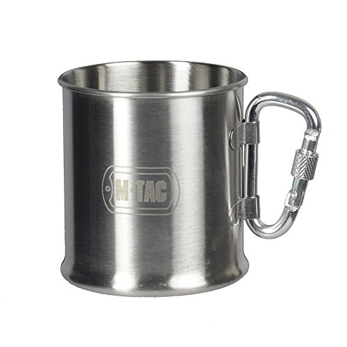 M-Tac Stainless Steel Cup Travel Coffee Mug with Carabiner Handle 8 Oz by M-Tac