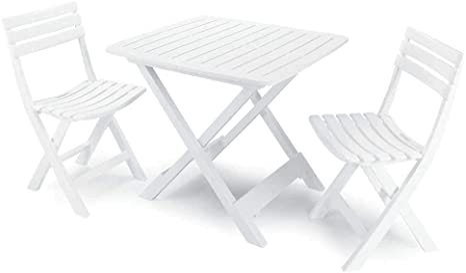 PRO GARDEN Conjunto de Terraza Plegable de 2 Sillas y Mesa Camping Blanca Progarden