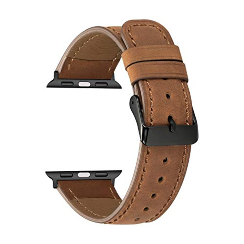 Classic Leather Replacement Accessory Strap Smart Watch - Replacement Wristband Band for Apple Watch Series 4 44mm (Brown) (Best Smartwatch For The Money)