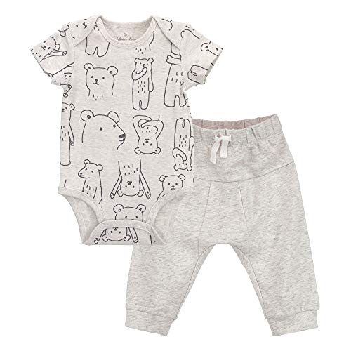 (Oliver & Rain - Organic Bear Print Short Sleeve Bodysuit and Jogger Pants Outfit Set, Heather Oatmeal,)