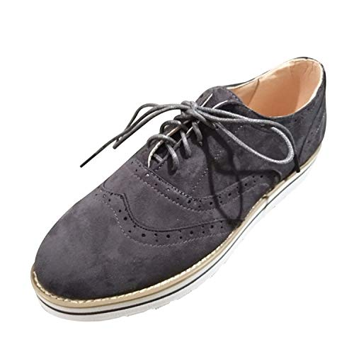 Londony♥‿♥ Women's Ladies Hollow Pattern Pumps Flat Suede Lace-Up Shoes Casual Pur Color Boots Dark Gray