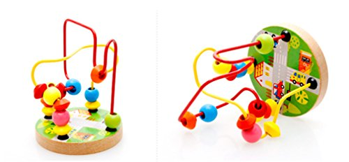 Joyeee Multicolor Wooden Bead Roller Coaster  4   Transportation Pattern   Compact Size Early Education Beads Maze Toys For Your Kids   Perfect Christmas Gift Ideas