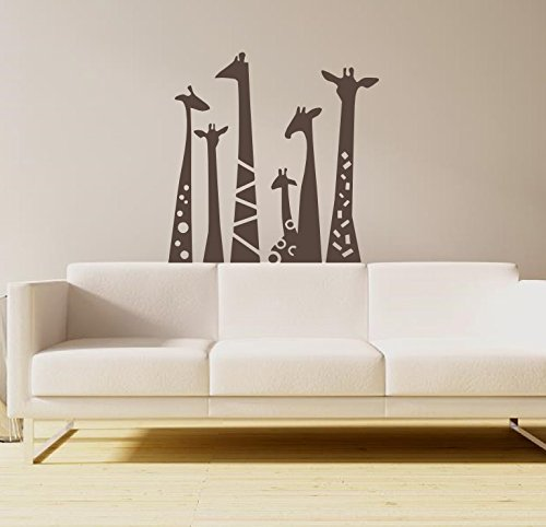 N.SunForest Set of 6 Animal Wall Sticker Giraffe Necks Safari Vinyl Wall Art Wall Decal Living Room Baby's Room Decor