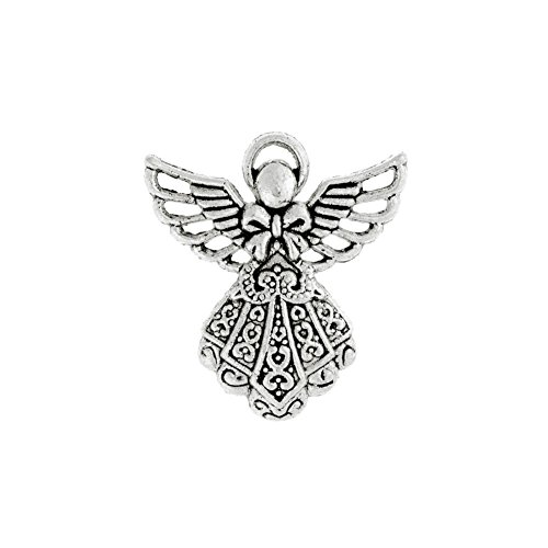 25pcs Shape Angel Tibetan Charm Size 23.5x26x3 mm Hole Size1 mm Color Antique Silver TS4214