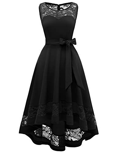 Gardenwed Eleagnt Lace Bridesmaid Dresses High Low Homecoming Dress Vintage Cocktail Dresses for Women Party Wedding Black XL