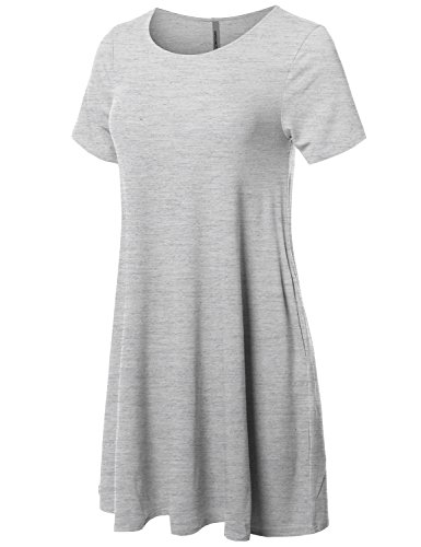 Women's Heather Loose Awesome21 Aawdrs0007 Stretchy Short Fit Grey Sleeve Dress Tunic Casual Sdgqwvf