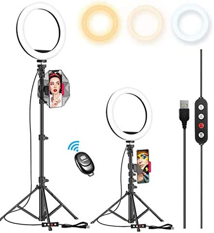 "10.2"" Selfie Ring Light with 65"" Adjustable Tripod Stand & Phone Holder for Live Stream/Makeup, Upgraded Dimmable LED Ringlight for Tiktok/YouTube/Zoom/Photography, Compatible with iPhone & Android"