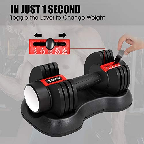 Adjustable Dumbbells, 5, 10, 15, 20, 25 lbs Dumbbell Weights Set for Men and Women, Fast Adjust Weight in 1 Second, Save Space and for Easier Transitions in Home Gym Workouts(Single) 4