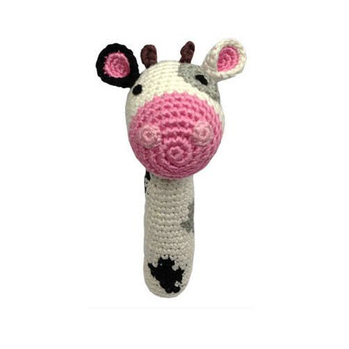 Cheengoo - Organic Baby Rattle - - Rattle Cow