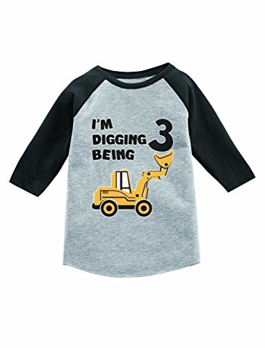 Construction Themed Birthday Parties (Tstars Construction Party 3rd Birthday Gift 3/4 Sleeve Baseball Jersey Toddler Shirt Dark Gray)