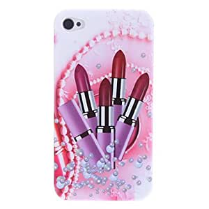 Dreamy Lipsticks Surrounded by Pearl Design Hard Case for iPhone 4/4S
