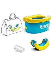 WISHTIME Potty Training Seat - Cute Banana Toilet Seat Trainer Portable Foldable Potty for Kids Boys Girls