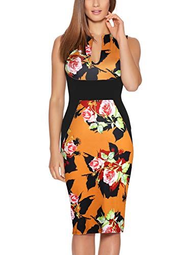 Fantaist Floral Dresses,Optical Illusion Slim Fitted Women Dress for Casual Summer (S, FT601-Yellow FL)