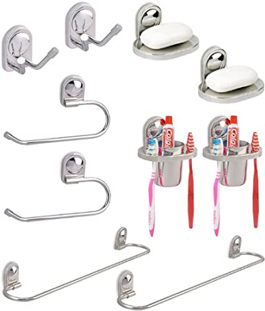 Doyours Piece Bathroom Accessories Set Set Of Steel Glossy