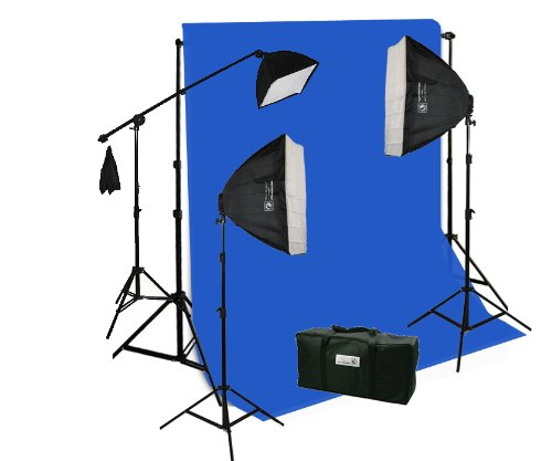 ePhotoInc 10 x 12 ft. Chromakey BLUE Screen, Background Support Stand Kit and 3200 Warm Light Photography Video Boom Hairlight Stand Lighting Kit H9004SB-1012BU 3200K by ePhotoinc