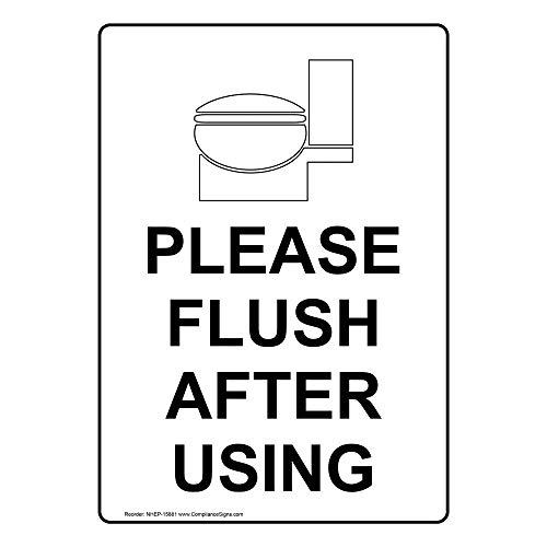 Please Flush After Using Label Decal, 5x3.5 in. 4-Pack Vinyl for Restrooms by ComplianceSigns