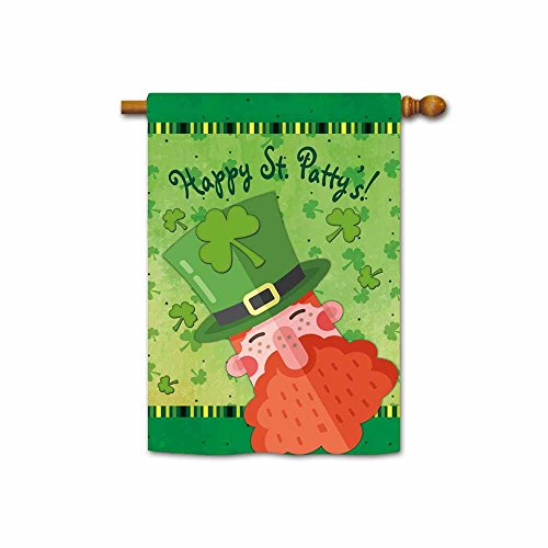 Hamory Happy St Patricks Day Red Beard Leprechaun in Green Hat House Flag 28x40 Inch Printed Both Sides -