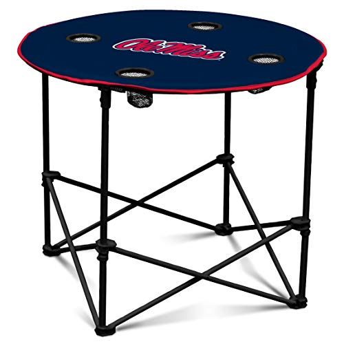 (Ole Miss Rebels Collapsible Round Table with 4 Cup Holders and Carry Bag)