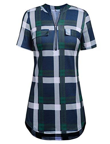 (LuckyMore Women's Short Sleeve Curved Hem Summer Career Blouse Shirts Tops Plaid Green)