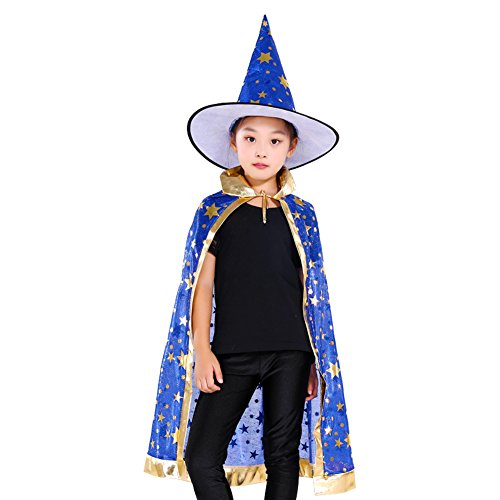 Colorful Witch Wizard Kids Cloak Cape Hat Sets Halloween party Customs (Blue) (Child Wizard)