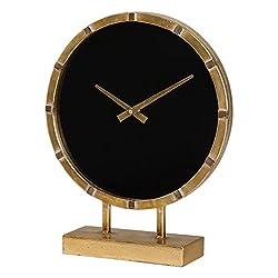 Modern Black Gold Round Table Clock   Sleek Contemporary Elegant