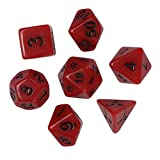 Dungeons and Dragons D&D Dice Set Red Polyhedral D4-D20 Game Dice for Role Playing Game TRPG Game 7PCSPlaying Game 7pcs (Red)