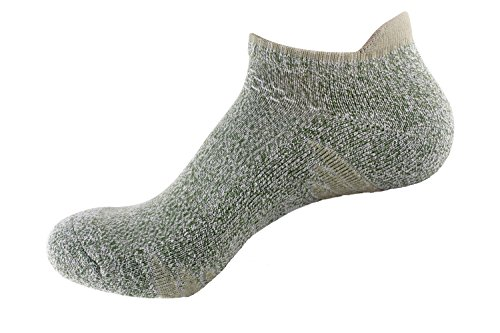 Bonvince No Show Athletic Running Socks for Men and Women Unisex Cushion Thick Padded Green