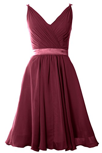 MACloth Women Pleated Chiffon Short Bridesmaid Dress Wedding Cocktail Party Gown Wine Red