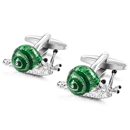 (MOWOM Green Silver Tone 2PCS Rhodium Plated Enamel Cufflinks Snails Shirt Wedding Business)