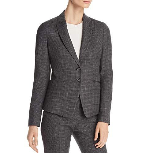 Hugo Boss BOSS Womens Jibena Plaid Professional Two-Button Blazer Gray ()