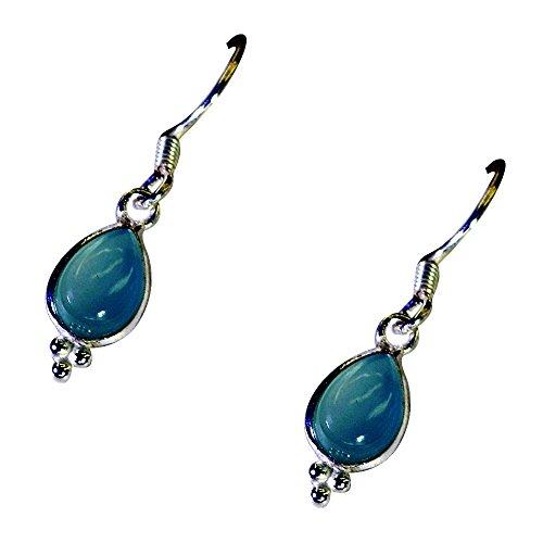 Gemsonclick Real Blue Chalcedony Earrings For Women 925 Silver Pear shape Fashion Jewelry Long Hook Shape