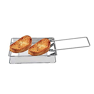 FeliciaJuan Barbecue Grill Portable Steel Foldable Rectangular Cooking Stove Toaster Bread Toast BBQ Tray Rack (Color : Silver, Size : 28x11x3.7cm): Garden & Outdoor