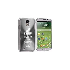 Silver Samsung Galaxy S4 S IV i9500 Aluminum Plated Hard Back Case Cover KK568 Keep Calm and Shop On High Heel by ruishername